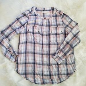 Two by Vince Camuto Rayon Plaid Hi Low Shirt Top M